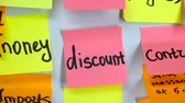plusz : Sticker with the words discount on a board