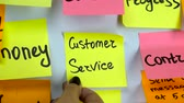 clipe de papel : Hand glues a sticker with an inscription customer service on a board