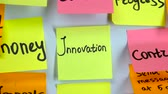 gider : Sticker with the words innovation on a white board Stok Video
