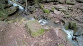 havoc : A pan shot towards a waterfall  in the Margaret Gorge. Located in Germany, in the Neckar Odenwald district. Stock Footage