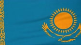Казахстан : National flag of Kazakhstan flying and waving on the wind. State symbol of Kazakh nation and government. Computer generated animation. Стоковые видеозаписи