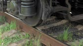 strength : Train coach carriage wheels on rails runway dolly tracking close-up shot. Transportation concept. Stock Footage