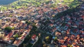 kıbrıs : Birds-eye view of Lofou village. Limassol District, Cyprus Stok Video
