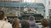 rehearsal : People are watching the legendary tank T 34 on the streets of Moscow