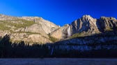 yosemite : 4K timelapse of sun rise of upper and lower yosemite fall, Yosemite National Park, California