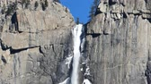 yosemite : The Famous Upper Yosemite Fall at Yosemite National Park around February Stock Footage