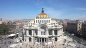 artes : Aerial view, timelapse of the beautiful Fine Arts Palace (Palacio de Bellas Artes) of Mexico City, Mexico