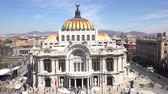 artes : Aerial view with pan movement of the beautiful Fine Arts Palace (Palacio de Bellas Artes) of Mexico City, Mexico