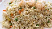 rice dishes : Delicious taiwanese style shrimp fry rice, serve with green beans, eggs and carrots