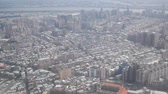 famous : Aerial view of the beautiful Taipei City, from an airplane window seat