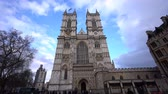 westminster : London, APR 15: Exterior view of the Westminster Abbey and long queueing line on APR 15, 2018 at London, United Kingdom