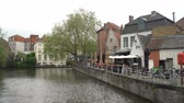 brüksel : Beautiful street and river view of the city on APR 28, 2018 at Brugge, Beligum