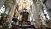 catholic church : Ghent, APR 28: Interior view of the historical Saint Nicholas Church on APR 28, 2018 at Ghent, Belgium Stock Footage