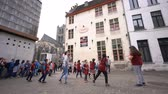 belgie : Ghent, APR 28: Children dancing in the Japanese culture event at the Ghent Market Hall on APR 28, 2018 at Ghent, Belgium Dostupné videozáznamy
