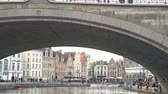 gerçek zamanlı : Beautiful cityscape and Leie river at Ghent, Belgium Stok Video