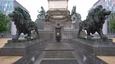 brüksel : Cloudy view of the historical Congress Column at Brussels, Belgium