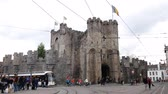ベルギー : Ghent, APR 28: Afternoon view of the famous Gravensteen Castle on APR 28, 2018 at Ghent, Beligum