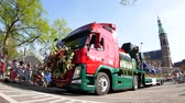 sávok : Netherlands, APR 21: Decorated trunk in the beautiful and colorful flower parade on APR 21, 2018 at Netherlands