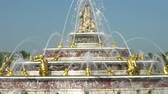 frankrijk : The famous Bassin de Latone Fountain of Palace of Versailles at France Stockvideo