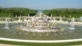 anıt : The famous Bassin de Latone Fountain of Palace of Versailles at France Stok Video