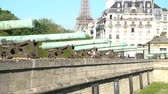 famous : Exterior view of the Army Museum and Eiffel Tower at Paris, France