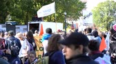 canadense : Quebec, OCT 2: Many people marching in old Quebec on OCT 2, 2018 at Quebec, Canada Stock Footage