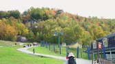canadense : Quebec, OCT 3: Cable car station of Mont-Tremblant National Park on OCT 3, 2018 at Quebec, Canada Stock Footage