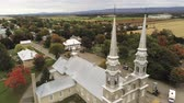 canadense : Aerial view of the Fabrique Notre-Dame de Bonsecours church at Quebec, Canada