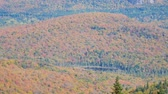 sunny side up : Aerial view of Mont-Tremblant National Park in fall color at Quebec, Canada Stock Footage