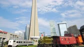 yukarıya bakıyor : Looking up the CN Tower from Toronto Railway Museum at Canada Stok Video
