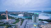 trépied : Aerial afternoon to night timelapse of the Skylon Tower and the beautiful Niagara Falls at Canada Vidéos Libres De Droits