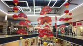 alışveriş merkezi : Los Angeles, FEB 8: The beautiful red lantern and red fan hanging in the Santa Anita Mall on FEB 8, 2019 at Los Angeles, California
