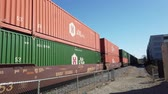 spedycja : Los Angeles, FEB 6: Train shipping lots of cargo in downtown area on FEB 9, 2019 at Los Angeles, California