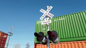cargo container : Los Angeles, FEB 9: Traffic light and Train shipping lots of cargo in downtown area on FEB 9, 2019 at Los Angeles, California