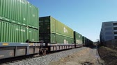 cargo container : Los Angeles, FEB 9: Train shipping lots of cargo in downtown area on FEB 9, 2019 at Los Angeles, California Stock Footage