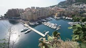 fontvieille : Aerial view of the Fontvieille Harbour and residence at Monaco Stock Footage