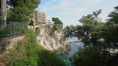 кактусы : Aerial view of the Fontvieille Harbour and residence at Monaco Стоковые видеозаписи