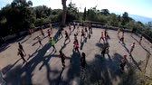 aeróbica : Nice, OCT 20: Many women doing exercise in the Castle Hill on OCT 20, 2018 at Nice, France Stock Footage