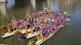 las : Las Vegas, OCT 13: Cancer survivor memorial event in the famous Rose Regatta Dragon Boat Festival on OCT 13, 2018 at Las Vegas, Nevada Stock Footage