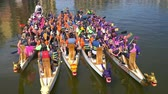 regata : Las Vegas, OCT 13: Cancer survivor memorial event in the famous Rose Regatta Dragon Boat Festival on OCT 13, 2018 at Las Vegas, Nevada Stock Footage