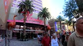 las vegas strip : Las Vegas, OCT 12: Walking in the famous strip area on OCT 12, 2018 at Las Vegas, Nevada Stock Footage