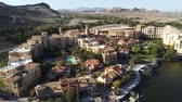 nevada : Aerial view of the beautiful landscape along the Lake Las Vegas at Nevada Stock Footage