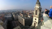 hongrie : Tower of the St. Stephens Basilica and aerial cityscape of Budapest, Hungary