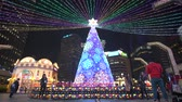 dekor : Taipei, DEC 18: Night view of the christmas decoration on top of the Taipei City Hall Station on DEC 18, 2018 at Taipei, Taiwan Stok Video