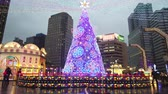 hall de gare : Taipei, DEC 18: Night view of the christmas decoration on top of the Taipei City Hall Station on DEC 18, 2018 at Taipei, Taiwan Vidéos Libres De Droits