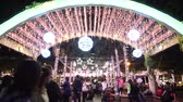 hala : Banqiao, DEC 19: Night view of the christmas decoration in front of the City Hall on DEC 19, 2018 at Banqiao, New Taipei City, Taiwan Wideo