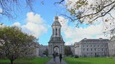 bell tower : Iconic landmarks - The Campanile of Trinity College at Dublin, Ireland Stock Footage