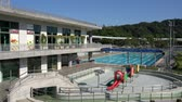 kamu : Swimming pool in Dahu Park at Taipei, Taiwan Stok Video
