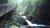 Beautiful landscape around Xinliao waterfall trail at Yilan, Taiwan Stock Footage