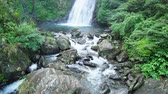 hiking trail : Beautiful landscape around Xinliao waterfall trail at Yilan, Taiwan Stock Footage